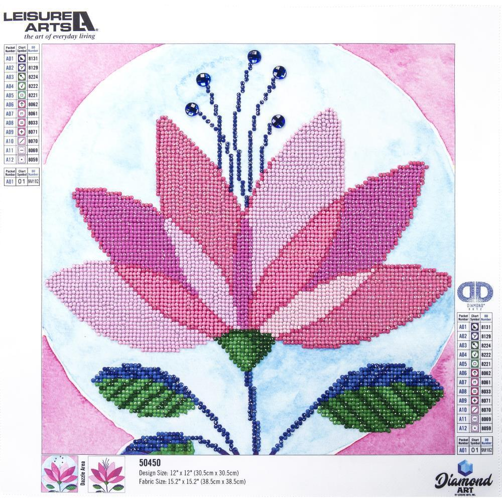 Leisure Arts Diamond Art Intermediate Kit 12 inch X12 inch Modern Flower