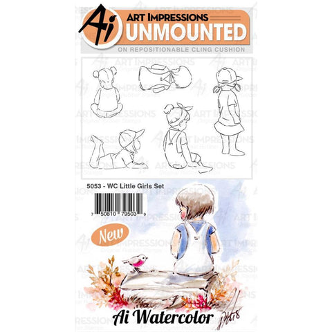 Art Impressions Watercolour Cling Rubber Stamps Little Girls