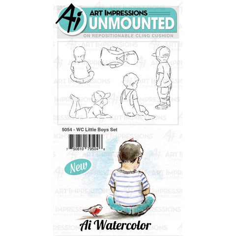 Art Impressions Watercolour Cling Rubber Stamps - Little Boys