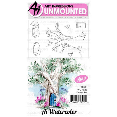 Art Impressions Watercolour Cling Rubber Stamps - Fairy Doors