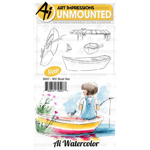 Art Impressions Watercolour Cling Rubber Stamps - Boat