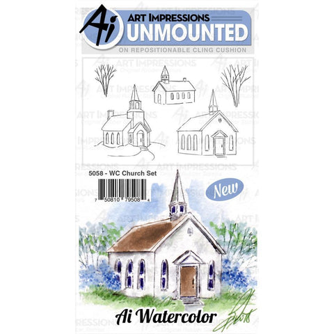 Art Impressions Watercolour Cling Rubber Stamps - Church