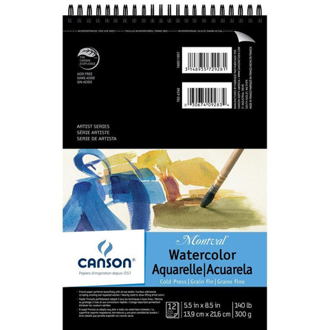Canson Montval Spiral Watercolour Pad 5.5x8.5 12 Sheets