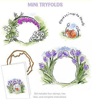 Art Impressions Mini Try'folds Cling Rubber Stamps 10 Inch X4.5 Inch  Blessings To You