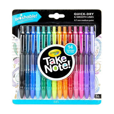 Crayola Take Note! Washable Gel Pens 14 pack