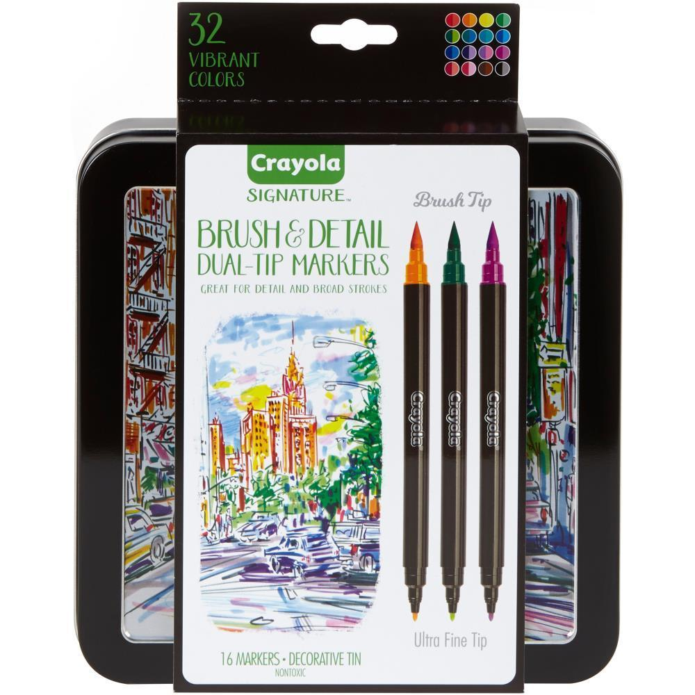 Crayola Signature Brush & Detail Dual-Tip Markers W/Tin Assorted Colors 16 pack