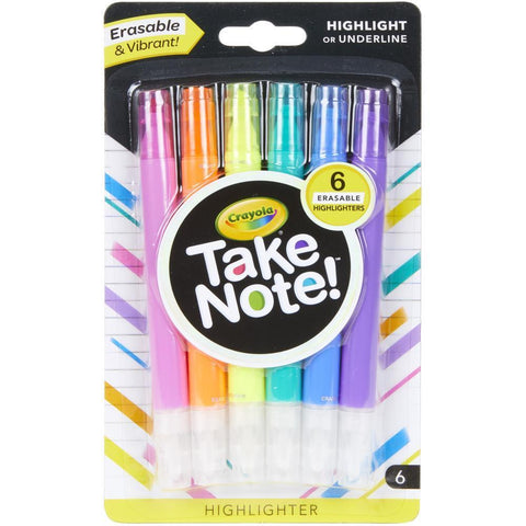 Crayola Take Note! Erasable Highlighters 6 pack