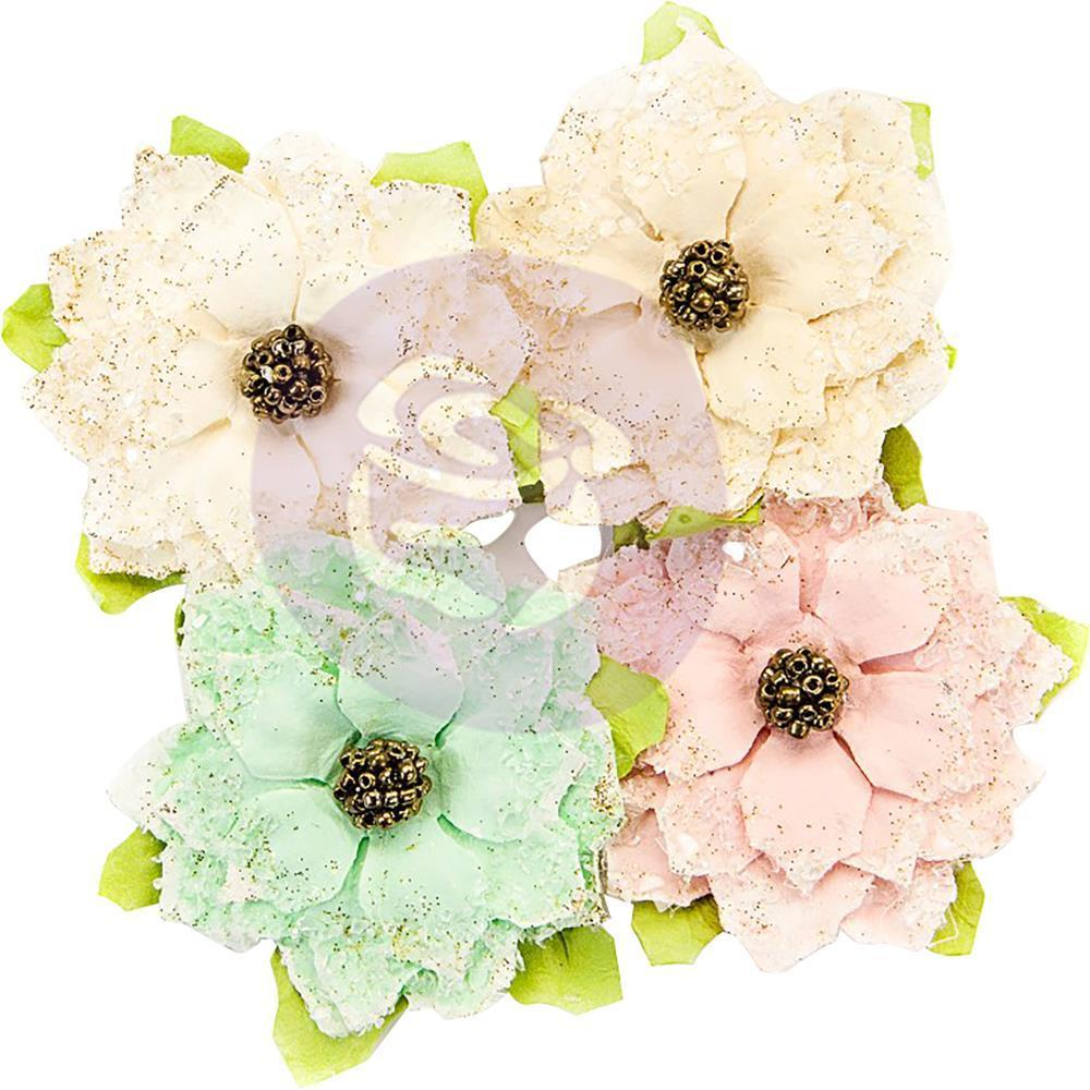 Prima Marketing - Santa Baby Mulberry Paper Flowers 4 pack - Snowkissed