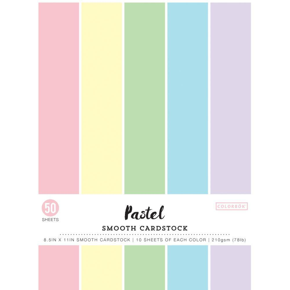 Colorbok 78lb Smooth Cardstock 8.5 inch X11 inch 50 pack Pastel, 5 Colours/10 Each
