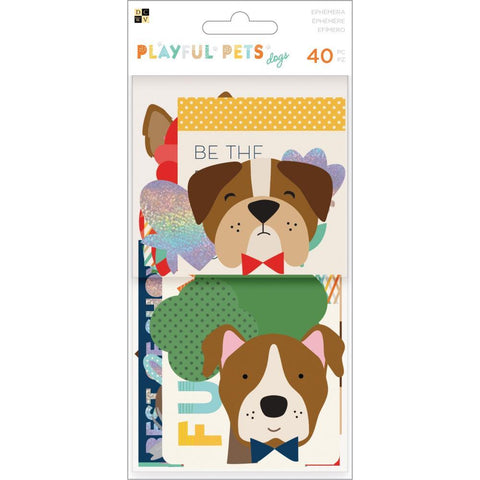 DCWV - Playful Pets Ephemera Die-Cuts 40 pack - Dogs with Iridescent Glitter Accents