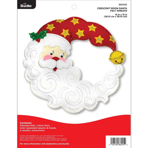 Bucilla - Felt Wreath Applique Kit 15 inch X15 inch Crescent - Moon Santa