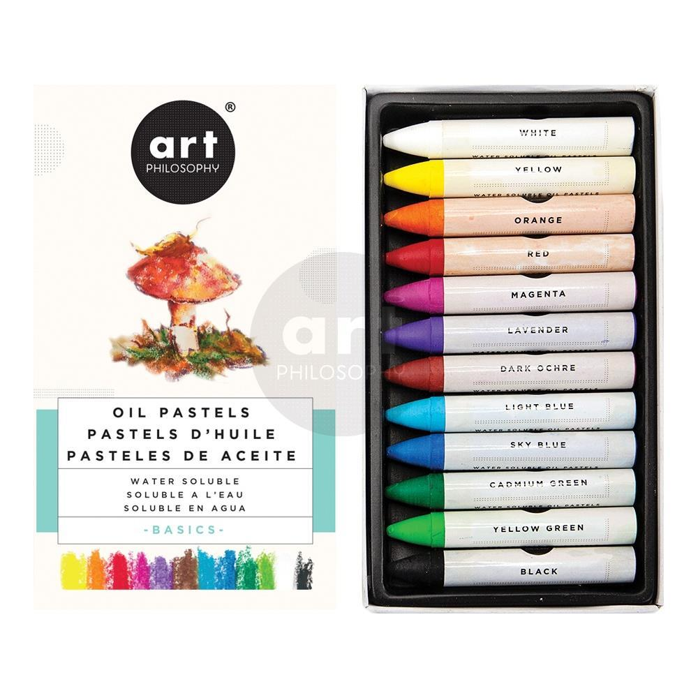 Prima Marketing - Prima Art Philosophy Water Soluble Oil Pastels 12 pack - Basics