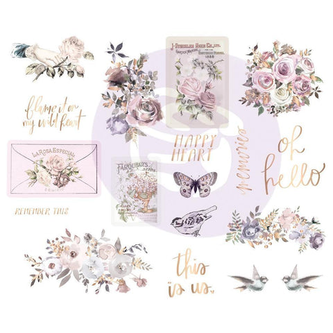 Prima Marketing - Lavender Frost Chipboard Stickers 5x8 inch 2 pack Icons with Foil Accents