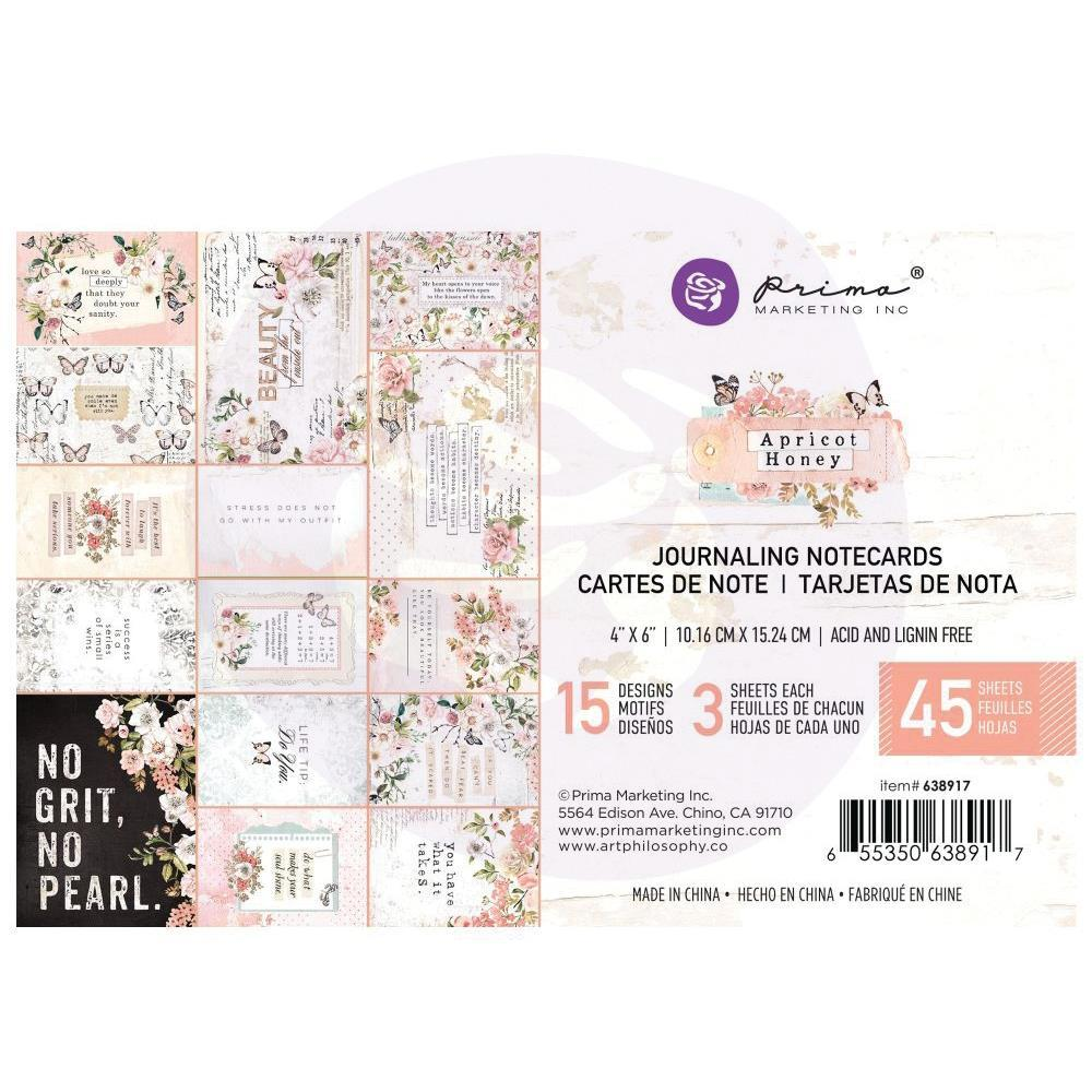 Prima Marketing - Apricot Honey - Journaling Cards 4 inchX6 inch 45 pack, 15 Designs/3 Each