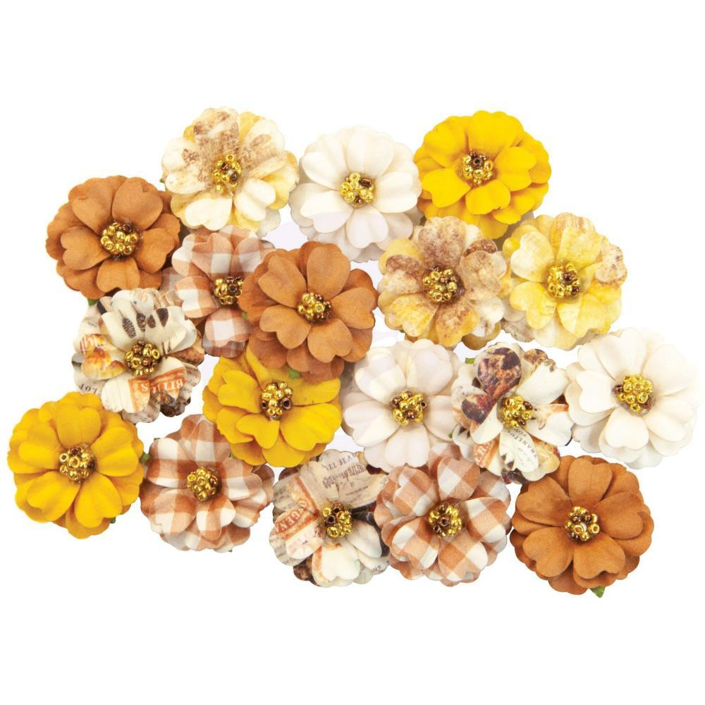 Prima Marketing - Mulberry Paper Flowers - Pumpkin Spice/Autumn Sunset