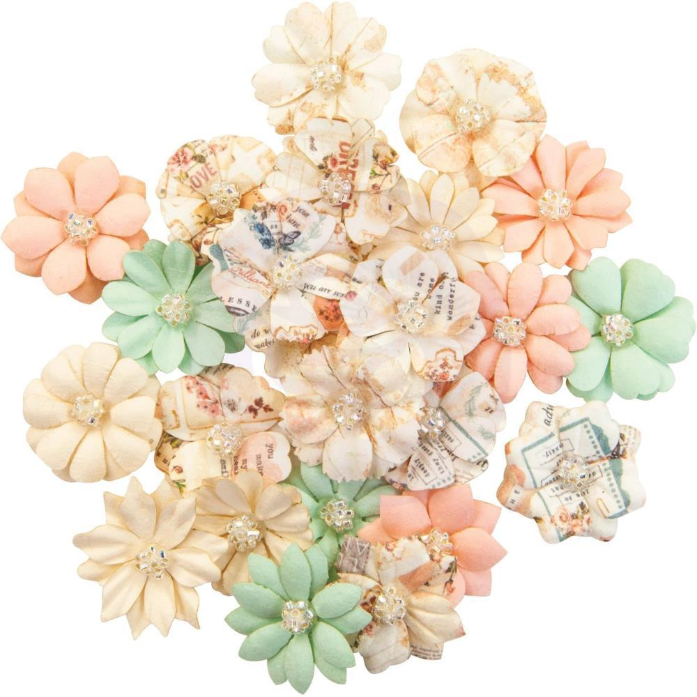 Prima Marketing - Mulberry Paper Flowers - Lovely Peaches/Apricot Honey