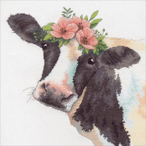 Dimensions Counted Cross Stitch Kit 12in x 12in - Sweet Cow (14 Count)