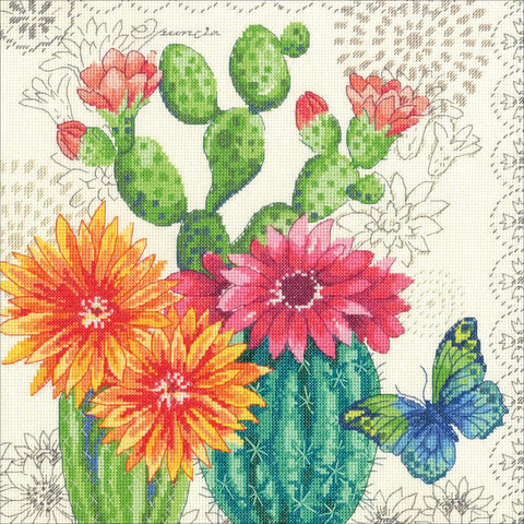Dimensions Counted Cross Stitch Kit 12in x 12in - Cactus Bloom (14 Count)