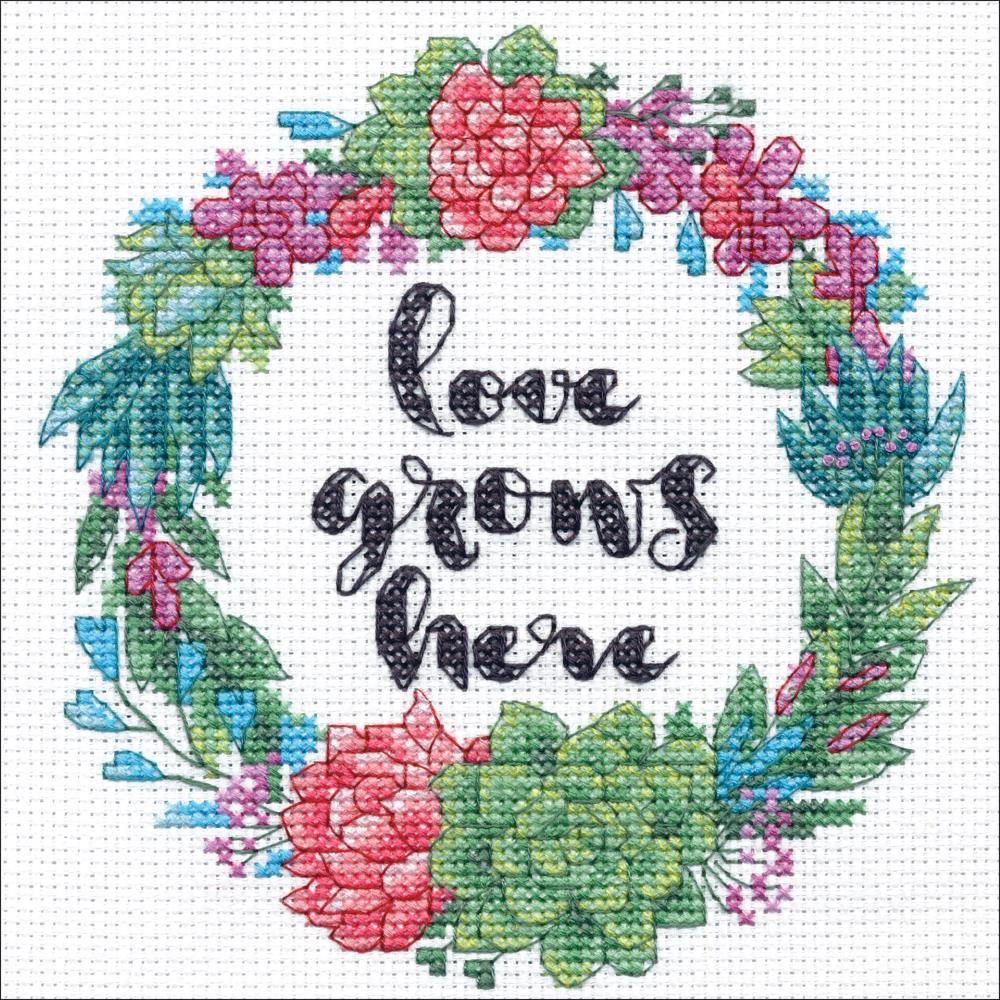 Dimensions Counted Cross Stitch Kit 6in x 6in Succulent Wreath (14 Count)