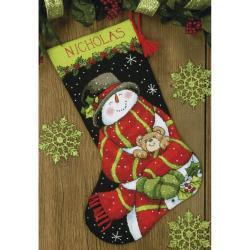 Dimensions Stocking Needlepoint Kit 16 inch Long - Snowman & Bear Stitched In Floss