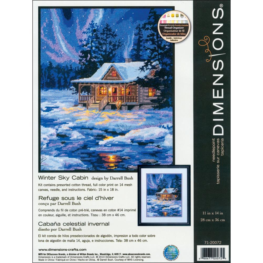 Dimensions Needlepoint Kit 11x14 inch - Winter Sky Cabin Stitched In Thread