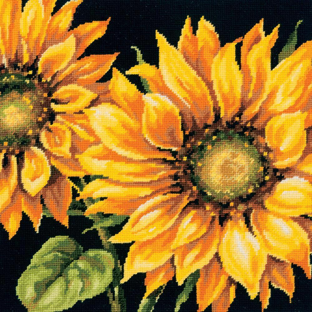 Dimensions Needlepoint Kit 14 inch X14 inch Dramatic Sunflower Stitched In Wool