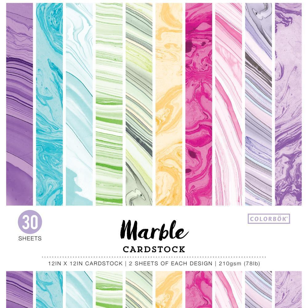 Colorbok 78lb Single-Sided Printed Cardstock 12 inch X12 inch 30 pack Marble