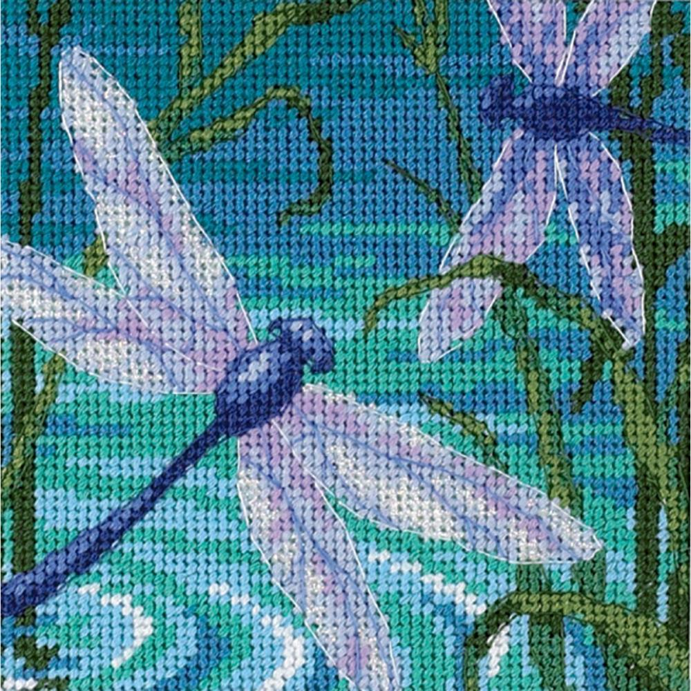 Dimensions Mini Needlepoint Kit 5 inch X5 inch Dragonfly Pair Stitched In Thread