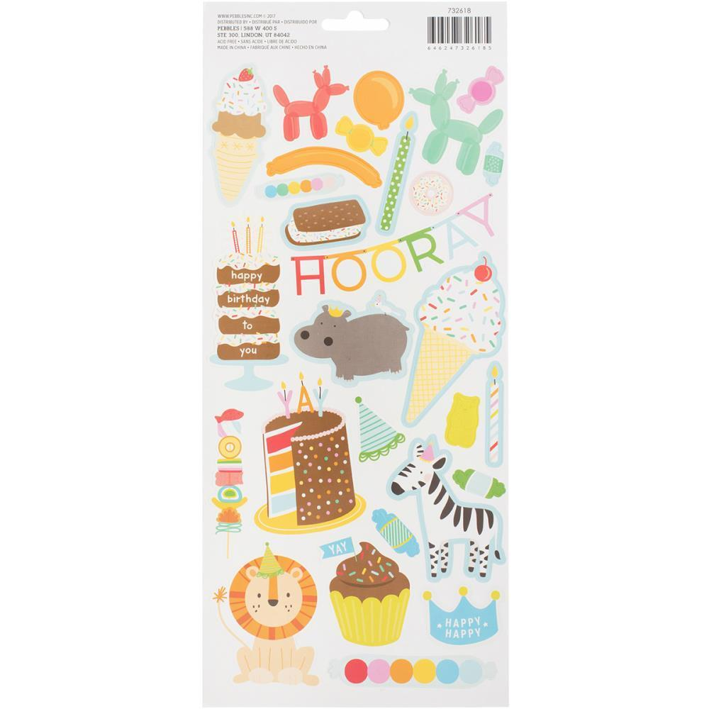 American Crafts - Pebbles - Happy Hooray Cardstock Stickers 5.5x11 inch 2 Pk - Icons & Accents