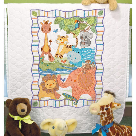 Dimensions/Baby Hugs Quilt Stamped Cross Stitch Kit 34x43 inch - Mod Zoo