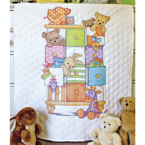 Dimensions/Baby Hugs Quilt Stamped Cross Stitch Kit 34x43 inch - Baby Drawers