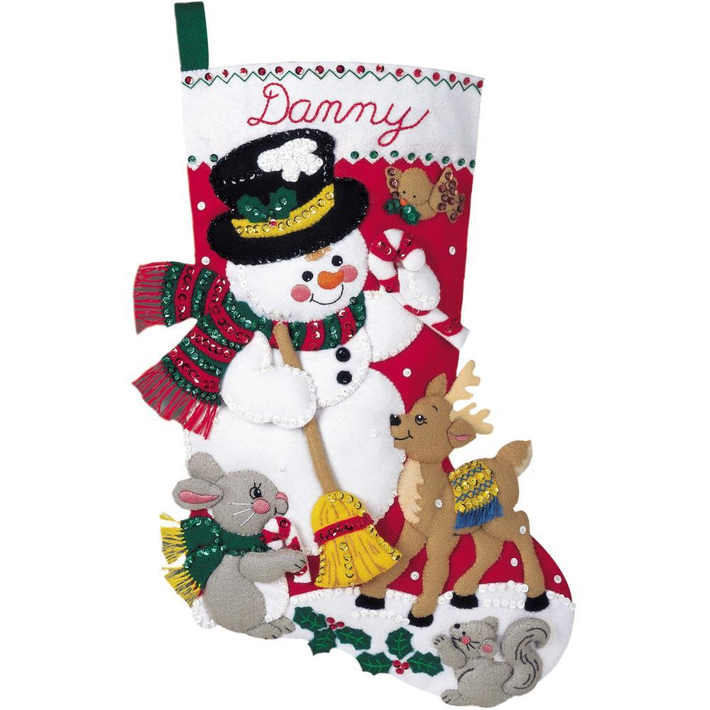 Bucilla Felt Stocking Applique Kit 18 inch Long - Snowman & Friends