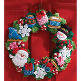 Bucilla Felt Wreath Applique Kit 16 inch Round Christmas Toys