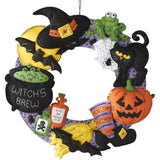 Bucilla Felt Wreath Applique Kit 17 inch Round Witchs Brew