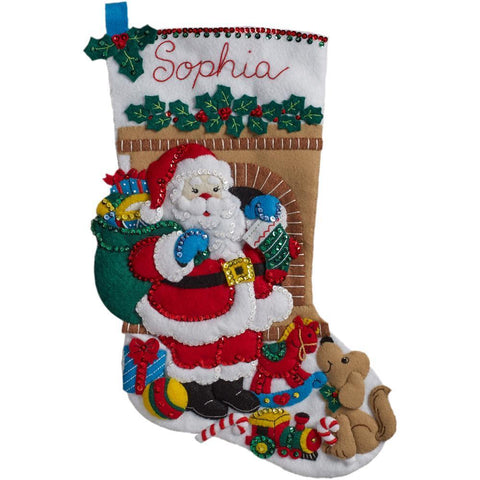 Bucilla Felt Stocking Applique Kit 18 inch Long - Santa's Visit