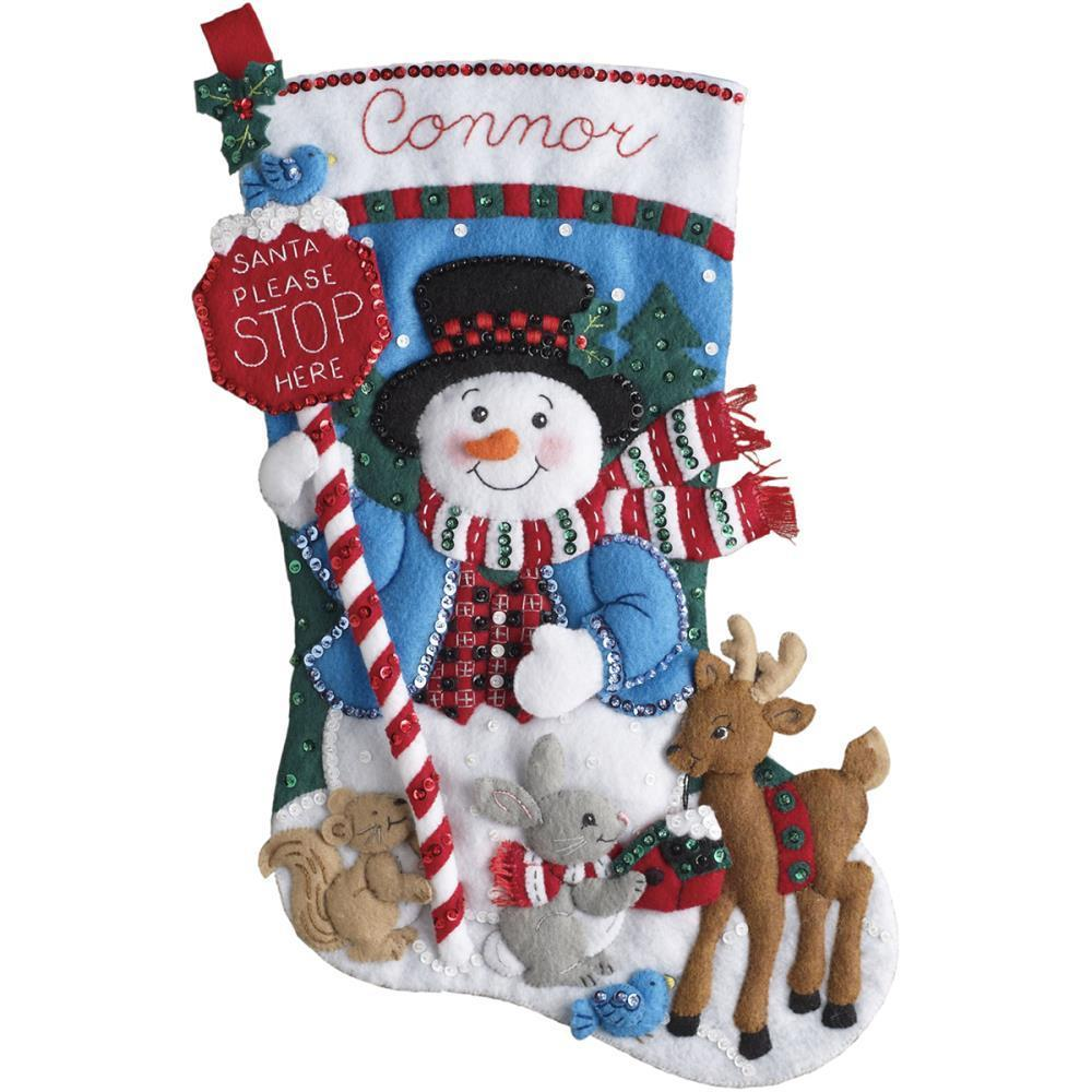 Bucilla Felt Stocking Applique Kit 18 inch Long Santa Stops Here