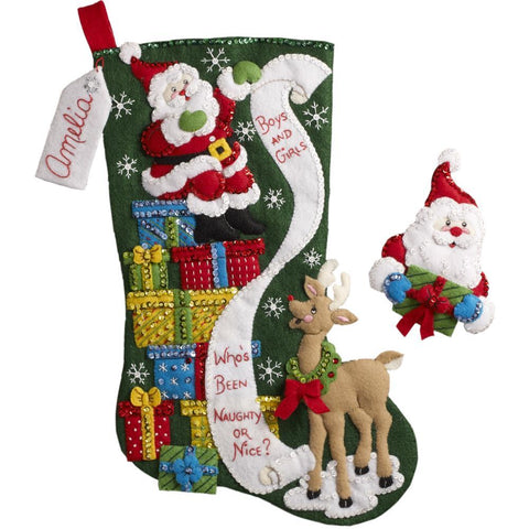 Bucilla - Felt Stocking Applique Kit 18 inch Long The List