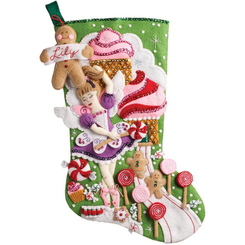 Bucilla - Felt Stocking Applique Kit 18 inch Long Sugarland Fairy