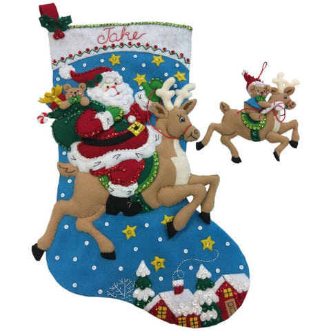 Bucilla Felt Stocking Applique Kit 18 inch Long - Reindeer Santa