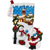 Bucilla - Felt Stocking Applique Kit 18 inch Long Christmas Village with Lights