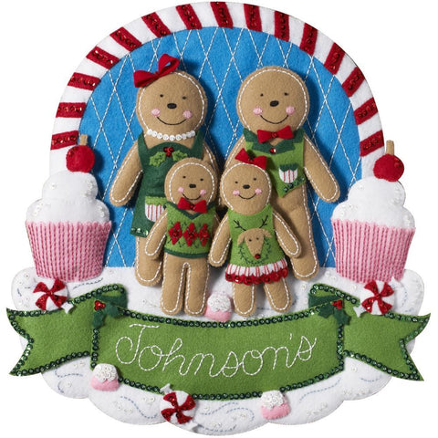 Bucilla - Felt Wall Hanging Applique Kit 15 inch X15 inch Gingerbread Family