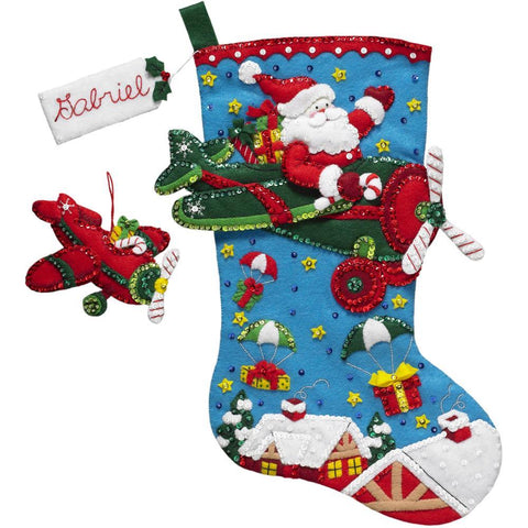 Bucilla Felt Stocking Applique Kit 18 inch Long - Aeroplane Santa
