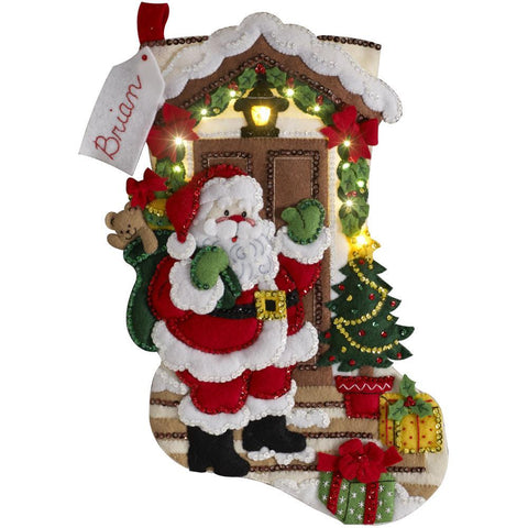 Bucilla - Felt Stocking Applique kit 18 inch Long Santa Is Here with Lights