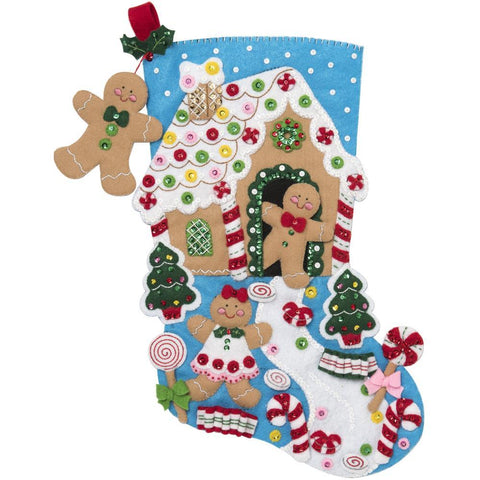 Bucilla - Felt Stocking Applique Kit 18 inch Long Gingerbread Dreams