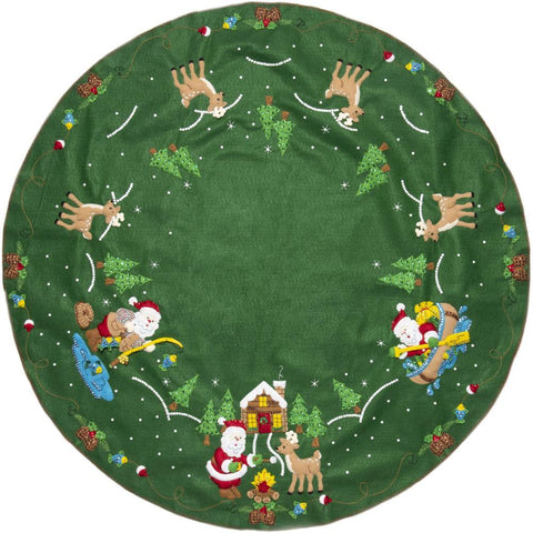 Bucilla Felt Tree Skirt Applique Kit 43in Round - Lodge Santa