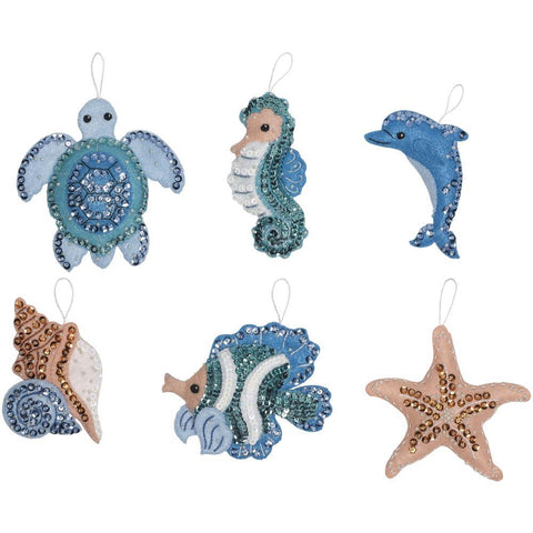 Bucilla Felt Ornaments Applique Kit 4in x 3.75in Set Of 6 - Under The Sea