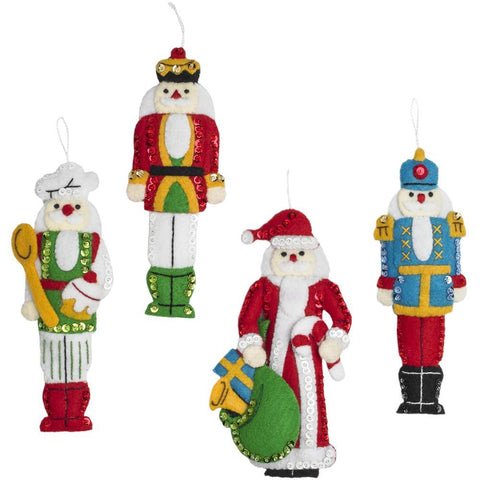 Bucilla Hallmark Felt Ornaments Applique Kit Set Of 6 Santa Nutcracker