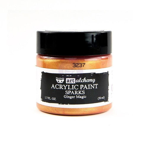 Prima Marketing - Finnabair Art Alchemy Sparks Acrylic Paint 1.7 Fluid Ounces - Ginger Magic