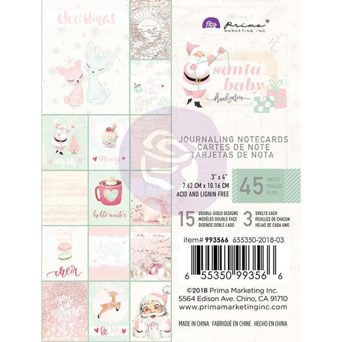 Prima Marketing - Santa Baby Journaling Cards Pad 3x4 inch 45 pack