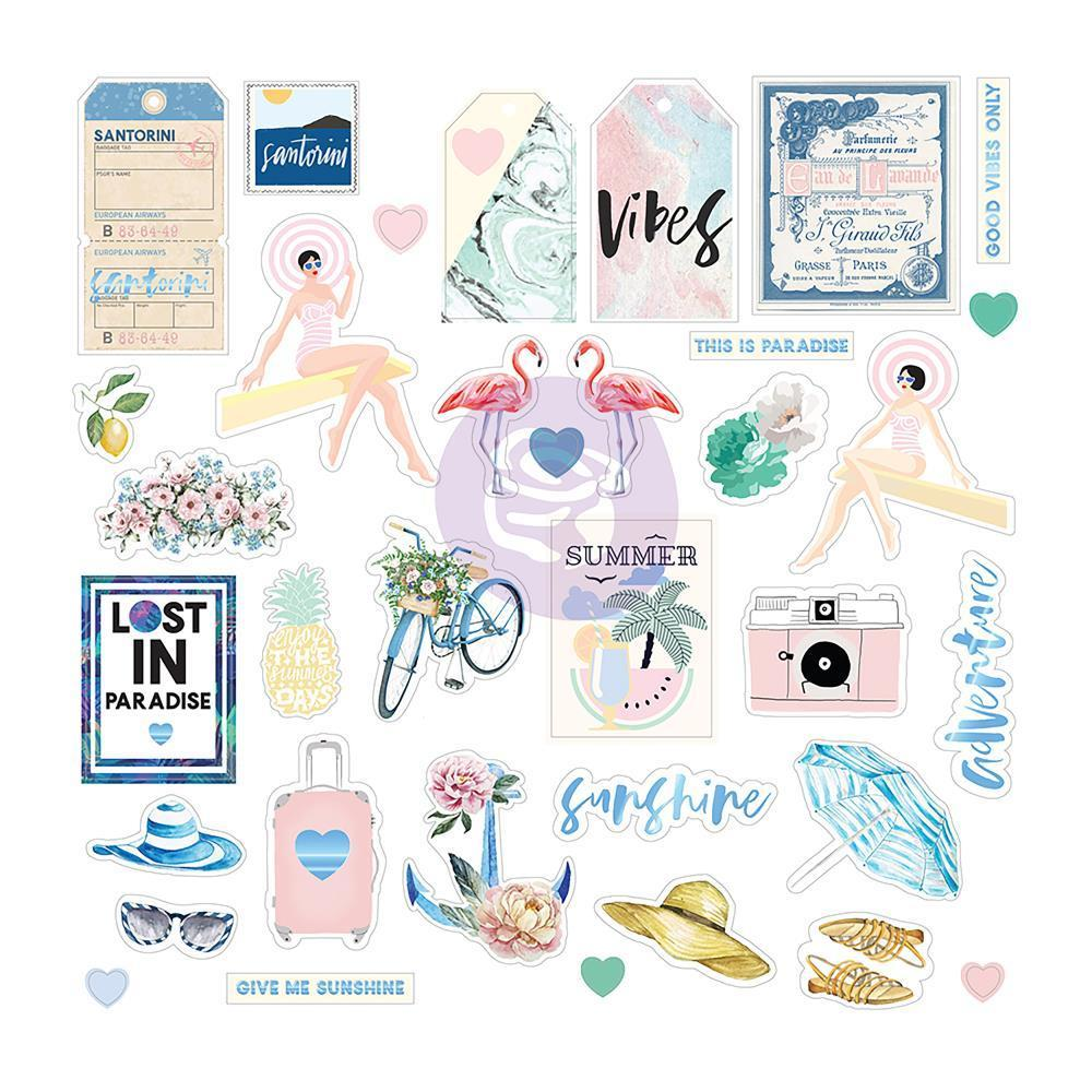 Prima Marketing - Santorini Ephemera Cardstock & Acetate Die-Cuts 55 pack Shapes, Tags, Words, Foiled Accents